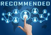 stock photo of recommendation  - Recommended concept with hand pressing social icons on blue world map background - JPG