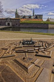 pic of hamlet  - Kronborg castle made famous by William Shakespeare in his play about Hamlet situated in the Danish harbour town of Helsingor - JPG