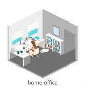 Постер, плакат: Flat 3D Isometric Abstract Office Floor Interior Departments Concept Vector Office Life Office Wor