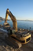 foto of jcb  - A JCB digger working on reclaiming the land in Gibraltar - JPG