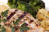 image of red snapper  - Fresh Red Snapper off the grill with vegetables and potatoes - JPG