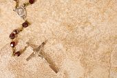 Rosary Beads On Stone With Space For Text