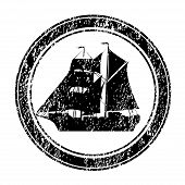 Black Rubber Stamp With Brigantine