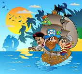 Three Pirates In Boat Near Island