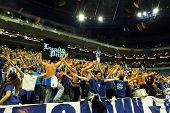 PRAGUE, CZECH REPUBLIC - APRIL 5: Iraklis team supporters watch the volleyball game of Final Four CE
