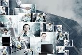picture of team building  - Business collage of many business images - JPG
