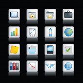 Vector icon set of detailed 3d office icons coloured buttons