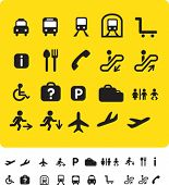 illustration set of various icons found at train and airports