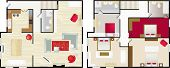 pic of upstairs  - Upstairs and dwonstairs aerial view of the interior of a typical home - JPG