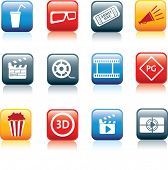 movie, film and cinema, typical square icon buttons