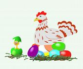 Hen And Chicken With Easter Eggs.