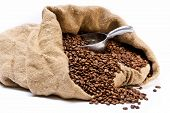 Coffee Beans Sack With Scattered Beans And Metal Scoop