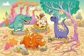 Funny dinosaurs with landscape