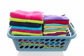 Basket Filled With Colorful Folded Laundry