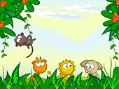 stock photo of baby-monkey  - Vector cartoon background - JPG