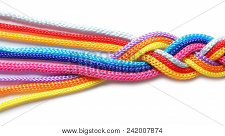 Braided Colorful Ropes On White Background  Unity Concept poster