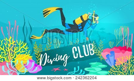 poster of Vector Cartoon Style Underwater Background With Sea Flora And Fauna. Coral Reef, Sea Plants And Fish