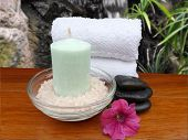 Spa Bath Preparation, Still Life Setup Includes Scented Candle, Fragrant Bath Salts, Tropical Flower
