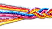 Braided Colorful Ropes On White Background. Unity Concept poster