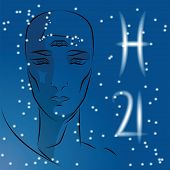 Постер, плакат: Sign Of Zodiac Pisces Girl Is Fortuneteller With Third Eye Constellation Sign Of Zodiac And Plane
