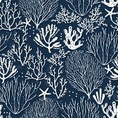 Seamless Hand Drawn Pattern With Coral Reef And Starfishes. Vector White Illustration On Dark Blue B poster
