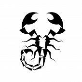 Scorpio Black Logo On White Background Vector Illustration poster