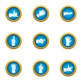 Bodily Movement Icons Set. Flat Set Of 9 Bodily Movement Vector Icons For Web Isolated On White Back poster
