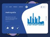 Quality One Page Metropolis Website Template Vector Eps, Modern Web Design With Flat Ui Elements And poster