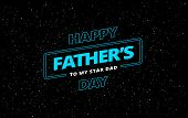 Happy Fathers Day Vector Greeting Card Space Theme Background poster