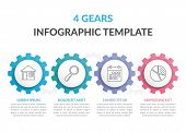 Infographic Template With Four Gears With Line Icons, Vector Eps10 Illustration poster