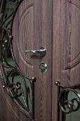 Closed Door Handle. Door Lock. Dark Brown Wooden Door Closeup. Modern Interior Design, Door Handle. poster