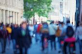 Vintage Tone Abstract People Crowd Background With Blur Effect Applied. Unrecognizable Man And Woman poster
