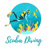 Vector Flat Style Illustration Of A Scuba Diver Diving Under The Sea. Underwater Background With Sea poster
