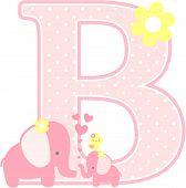 Elephant Baby Girl Initial B.eps poster