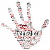 Conceptual education, knowledge, information hand print stamp word cloud isolated background. Collag poster