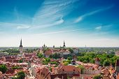 Scenic Summer Aerial Panorama Of The Old Town In Tallinn, Estonia. poster
