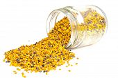 foto of jar jelly  - Jar bee pollen on a white background - JPG