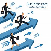 Business Race. Businesspeople Running Down Track. Competition Concept. Winning Strategy. Vector Illu poster