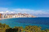 Benidorm Coastline, Levante Beach With Touristic Apartments And Hotels During Sunny Day poster