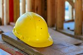 Safety Construction Concept Safety First, Construction , Work Safety Helmets For Professional Builde poster
