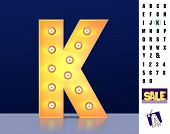Letter K From Alphabet. Glowing Letter K. Bulb Type K. 3d Illuminated Light Bulb Symbol Letter K. Re poster