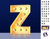 Letter Z From Alphabet. Glowing Letter Z. Bulb Type Z. 3d Illuminated Light Bulb Symbol Letter Z. Re poster