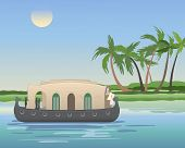 stock photo of houseboats  - an illustration of a keralan houseboat cruising the backwaters with coconut trees under a blue sky - JPG