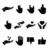 Hand Icon, Vector Illustration Hand, Icon Set Hand, White Background Isolated Hand Symbol poster