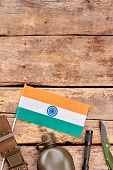 Equipment And Essentials Of Indian Soldier With Copyspace. Flat Lay, Top View. Wooden Desk Table Wit poster