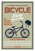 Bicycle Shop Vector Poster In Retro Style With Grunge Textures On Separate Layer. Bike Repair Servic poster