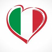 Love Italy, Heart Emblem National Flag Colored. Flag Of Italy With Heart Shape For Italian Republic  poster