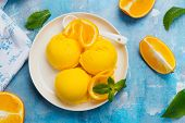 Orange Ice Cream. Summer Orange Sorbet. Homemade Orange Ice Cream With Thyme And Orange Slices poster