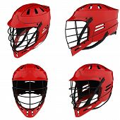 Set Of Classic Lacrosse Helmets. All Side View. Sport Goods And Equipment. 3d Render Illustration Is poster