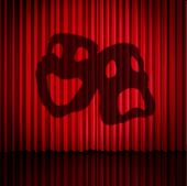 Theatre Mask Curtains As A Drama Performance Stage Concept With Comedy And Tragedy Masks As A 3d Ill poster